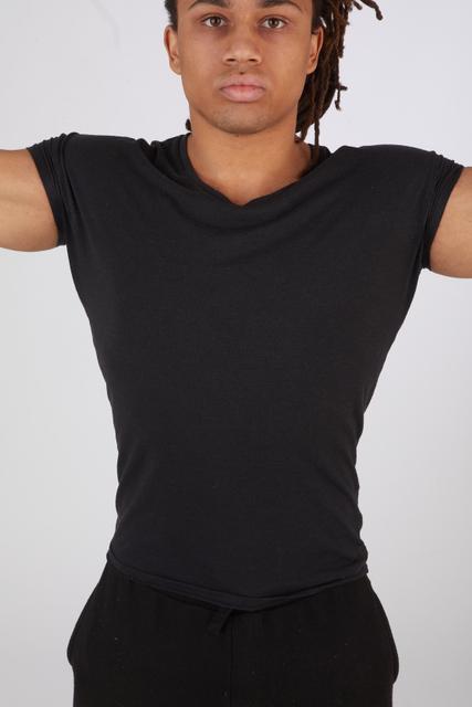 Upper Body Man Black Casual Slim Street photo references