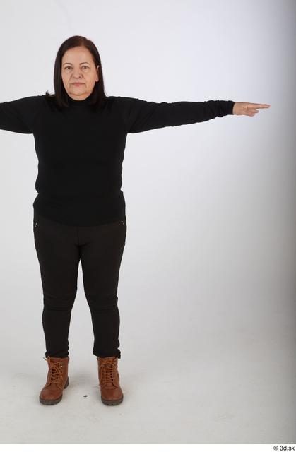 Whole Body Woman T poses Casual Chubby Standing Street photo references