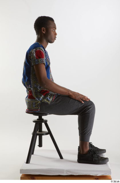 Whole Body Man Black Shirt Pants Slim Sitting Studio photo references