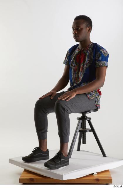 Whole Body Man Black Shirt Pants Slim Sitting Studio photo references