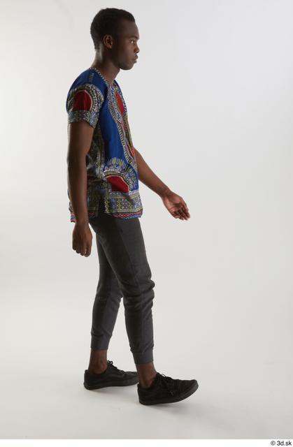 Whole Body Man Black Shirt Pants Slim Walking Studio photo references