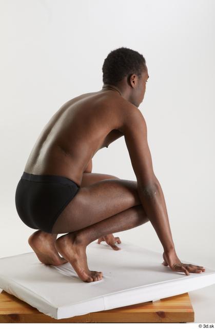 Whole Body Man Black Underwear Slim Kneeling Studio photo references