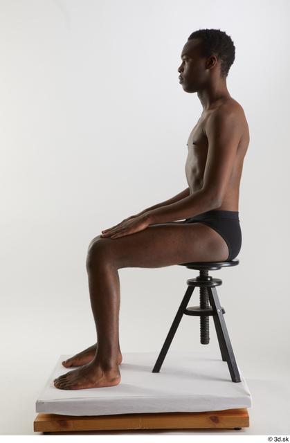 Whole Body Man Black Underwear Slim Sitting Studio photo references