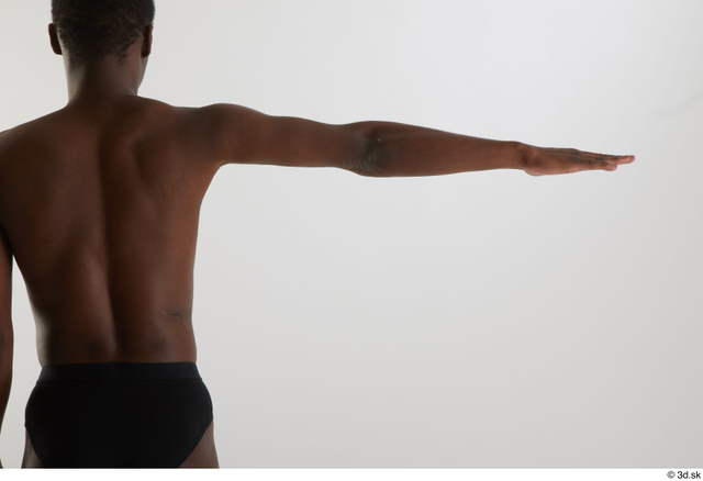 Arm Back Man Black Nude Slim Studio photo references