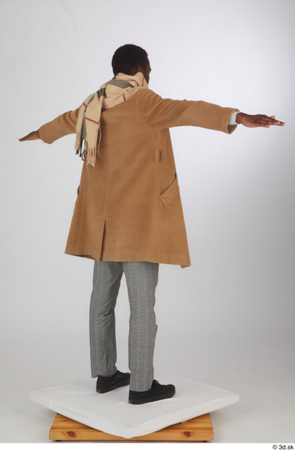 Whole Body Man T poses Black Casual Trousers Coat Slim Standing Scarf Studio photo references