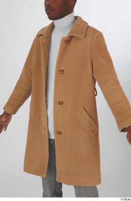 Upper Body Man Black Casual Coat Slim Studio photo references