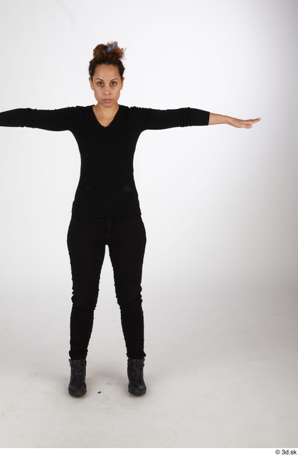 Whole Body Woman T poses Black Casual Slim Standing Street photo references