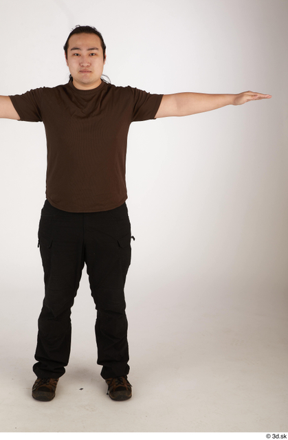 Whole Body Man T poses Asian Casual Chubby Standing Street photo references