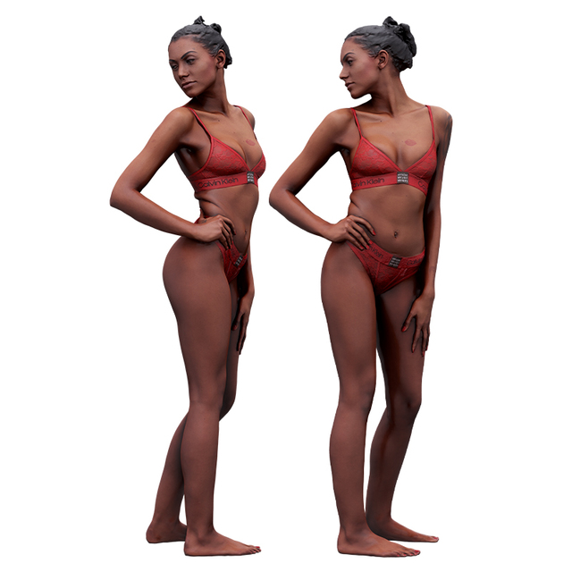 Whole Body Woman Artistic poses White Tattoo Underwear Athletic 3D Cleaned Raw Bodies