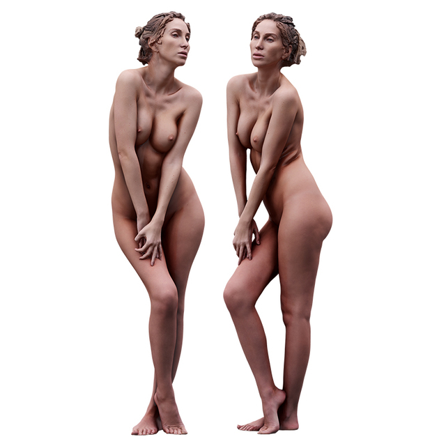 Whole Body Woman White Nude Athletic 3D Cleaned Raw Bodies