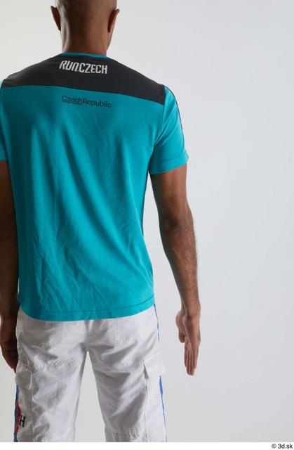 Arm Back Man Black Sports Shirt Slim Studio photo references