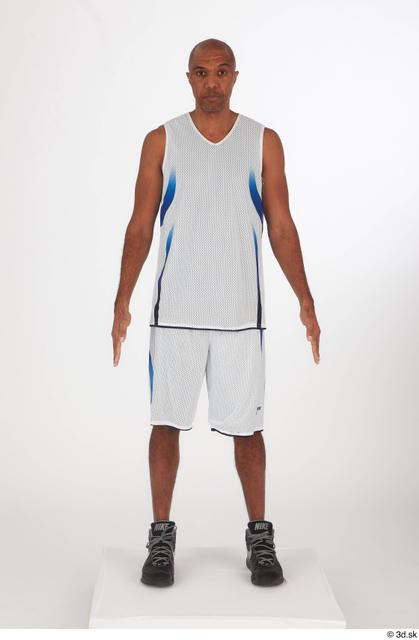 Whole Body Man Black Shorts Slim Standing Top Studio photo references