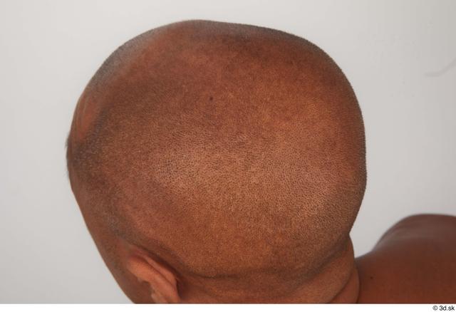 Man Black Slim Bald Studio photo references
