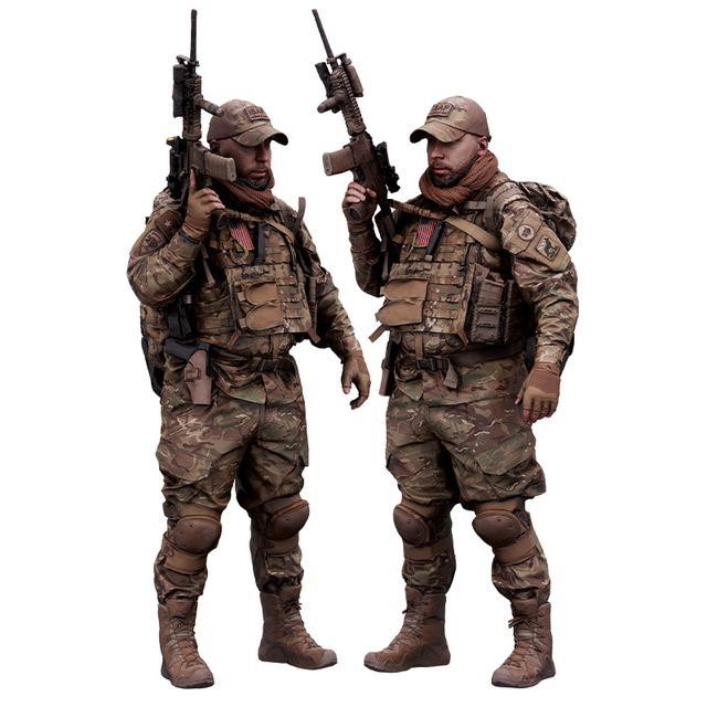 Whole Body Weapons-Rifle Man White Army Average 3D Cleaned Raw Bodies