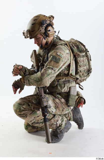 Whole Body Army Athletic Kneeling Studio photo references