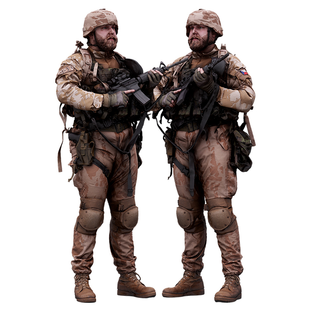 Whole Body Weapons-Rifle Man White Army Muscular 3D Cleaned Raw Bodies