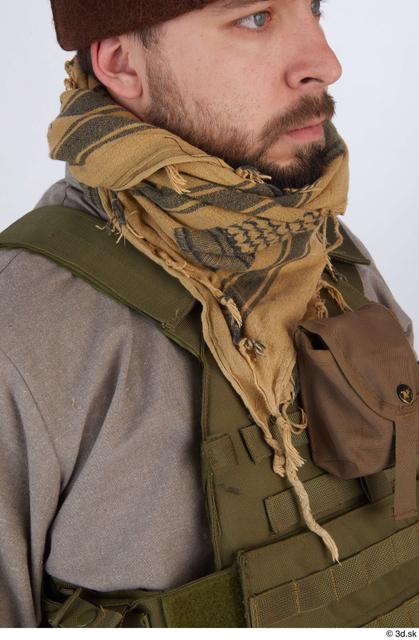 Upper Body Man White Army Uniform Vest Athletic Scarf Street photo references