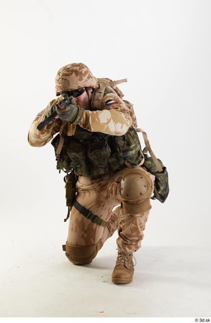Man White Army Athletic Kneeling Standing Studio photo references