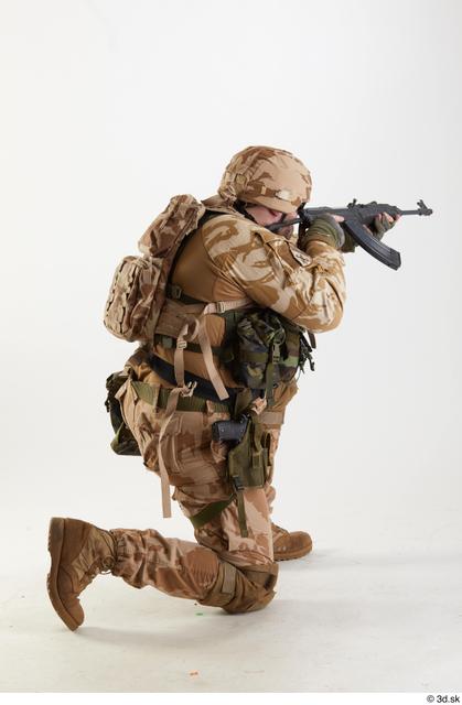 Whole Body Man White Army Athletic Kneeling Studio photo references