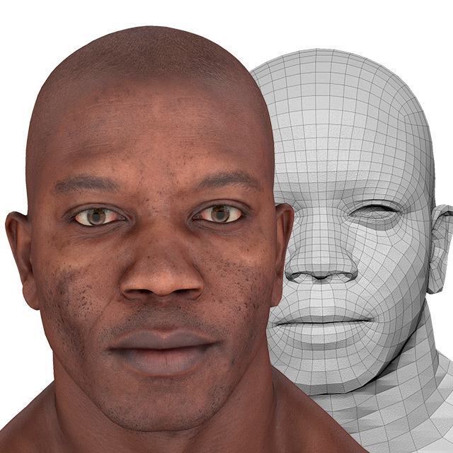 Head Man Black Bald 3D Retopologised Heads