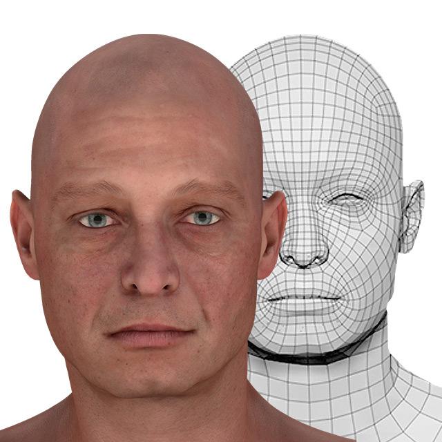 Head Man White Bald 3D Retopologised Heads