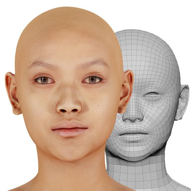 Head Man Asian Bald 3D Retopologised Heads