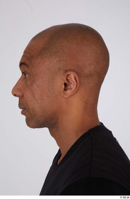 Head Man Black Casual Slim Bald Street photo references