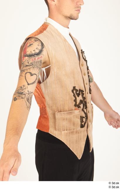 Upper Body Man White Tattoo Historical Vest Costume photo references