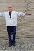 Old man whole body modeling white shirt deep blue jogging suit 0001