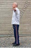Old man whole body modeling white shirt strips deep blue jogging suit 0001