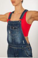 Upper body modeling pose blue jeans red singlet of Rebecca 0002