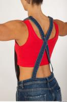 Upper body modeling pose blue jeans red singlet of Rebecca 0004