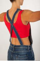 Upper body modeling pose blue jeans red singlet of Rebecca 0006