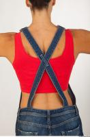 Upper body modeling pose blue jeans red singlet of Rebecca 0005
