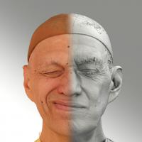 Raw 3D head scan of sneer emotion right - Jan