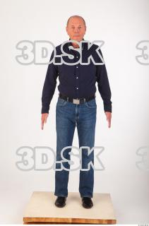 Whole body deep blue shirt jeans of Ed 0001