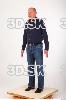 Whole body deep blue shirt jeans of Ed 0002