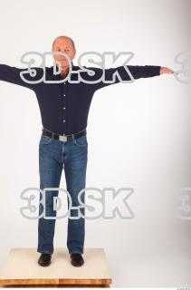 Whole body deep blue shirt jeans modeling reference of Ed 0001