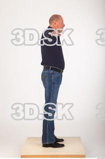 Whole body deep blue shirt jeans modeling reference of Ed 0007
