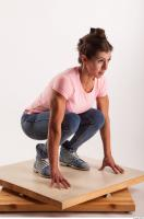 Kneeling pose blue jeans pink t shirt of Oxana  0008