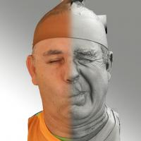 3D head scan of sneer emotion left - Ilja
