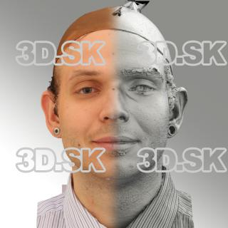 3D head scan of natural smiling emotion - Martin
