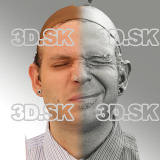 3D head scan of sneer emotion left - Martin