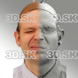 3D head scan of sneer emotion right - Martin