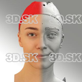 3D head scan of natural smiling emotion - Dina