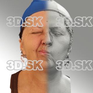 3D head scan of sneer emotion right - Zdenka