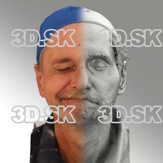 3D head scan of sneer emotion right - Richard