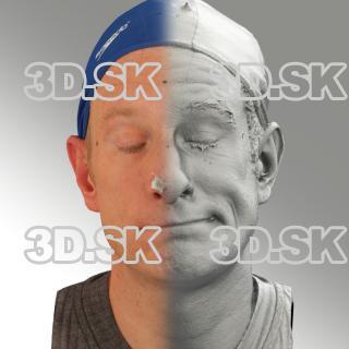 3D head scan of sneer emotion left - Marcel