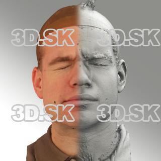 3D head scan of sneer emotion right - Petr