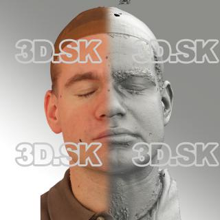 3D head scan of sneer emotion left - Petr